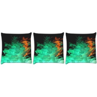 Snoogg Pack Of 3 Red Green Smoke Digitally Printed Cushion Cover Pillow 8 X 8 Inch