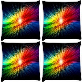 Snoogg Pack Of 4 Supernova Rainbow Explosion Digitally Printed Cushion Cover Pillow 8 X 8 Inch