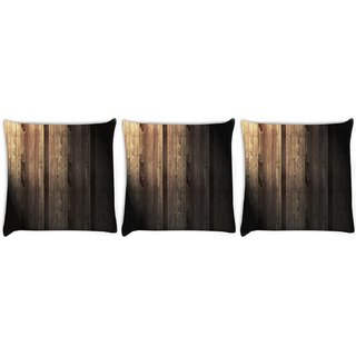 Snoogg Pack Of 3 Abstract Metallic Wood Digitally Printed Cushion Cover Pillow 8 X 8 Inch