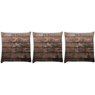 Snoogg Pack Of 3 Old Wood Textures Digitally Printed Cushion Cover Pillow 8 X 8 Inch