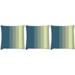 Snoogg Pack Of 3 Yellow And Blue Digitally Printed Cushion Cover Pillow 8 X 8 Inch