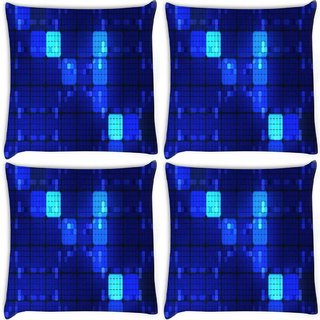 Snoogg Pack Of 4 Blue Blocks Digitally Printed Cushion Cover Pillow 8 X 8 Inch