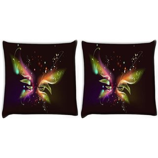 Snoogg Pack Of 2 Abstract Black Design Digitally Printed Cushion Cover Pillow 8 X 8 Inch