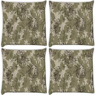 Snoogg Pack Of 4 Abstract Rose Art Digitally Printed Cushion Cover Pillow 8 X 8 Inch