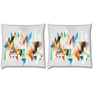 Snoogg Pack Of 2 Triangles Forming A Shape Digitally Printed Cushion Cover Pillow 8 X 8 Inch