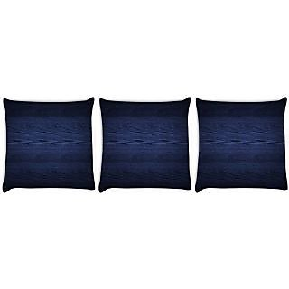 Snoogg Pack Of 3 Dark Blue Wood Wall Digitally Printed Cushion Cover Pillow 24 X 24Inch