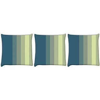 Snoogg Pack Of 3 Yellow And Blue Digitally Printed Cushion Cover Pillow 24 X 24Inch