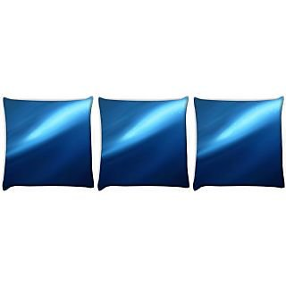 Snoogg Pack Of 3 Abstract Blue Pathway Digitally Printed Cushion Cover Pillow 24 X 24Inch