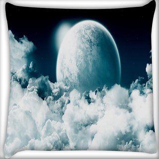 Snoogg Beautiful Night Digitally Printed Cushion Cover Pillow 24 X 24 Inch