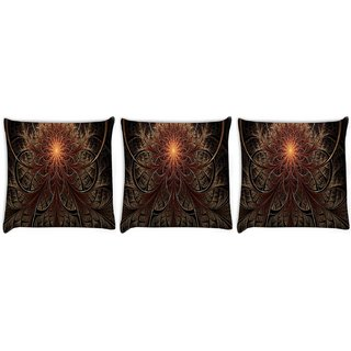 Snoogg Pack Of 3 Fractal Lines Abstract Digitally Printed Cushion Cover Pillow 24 X 24Inch