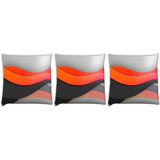 Snoogg Pack Of 3 Light Waves Digitally Printed Cushion Cover Pillow 24 X 24Inch