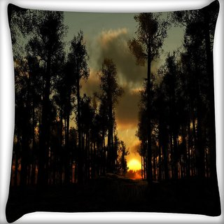 Snoogg Sunset In Forest Digitally Printed Cushion Cover Pillow 24 X 24 Inch