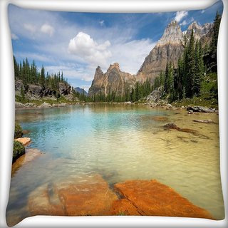 Snoogg Rocks In The Lake Digitally Printed Cushion Cover Pillow 24 X 24 Inch