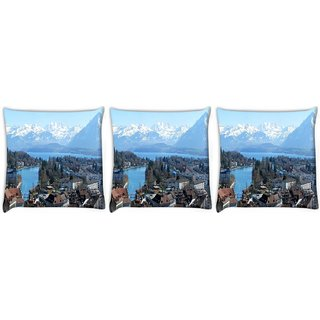 Snoogg Pack Of 3 White Mounatins Digitally Printed Cushion Cover Pillow 24 X 24Inch