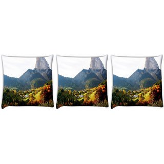 Snoogg Pack Of 3 Multiple Trees Digitally Printed Cushion Cover Pillow 24 X 24Inch