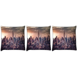 Snoogg Pack Of 3 Pin Point Building Digitally Printed Cushion Cover Pillow 24 X 24Inch