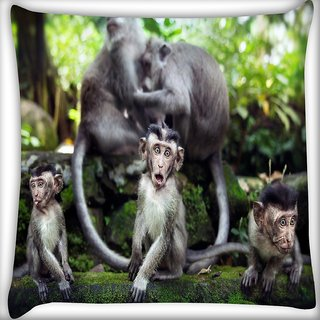 Snoogg Monkey Babies Digitally Printed Cushion Cover Pillow 24 X 24 Inch