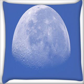 Snoogg White Moon Digitally Printed Cushion Cover Pillow 24 X 24 Inch
