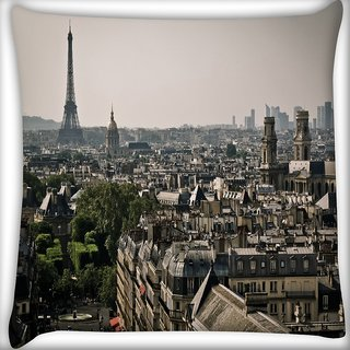Snoogg Paris City Digitally Printed Cushion Cover Pillow 24 X 24 Inch