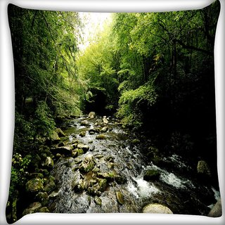 Snoogg Pebble Big Stones Digitally Printed Cushion Cover Pillow 24 X 24 Inch