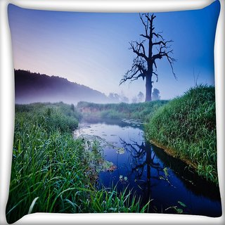Snoogg Frozen Tree Digitally Printed Cushion Cover Pillow 24 X 24 Inch