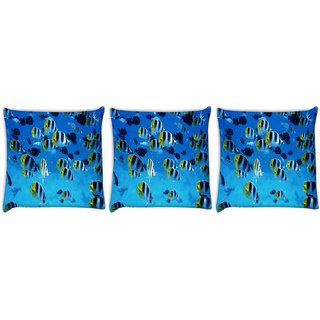 Snoogg Pack Of 3 Tiger Fish Digitally Printed Cushion Cover Pillow 24 X 24Inch