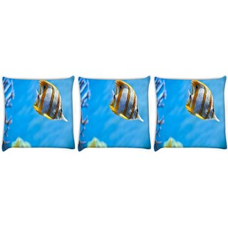 Snoogg Pack Of 3 Colorful Fish Digitally Printed Cushion Cover Pillow 24 X 24Inch