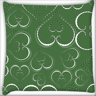 Snoogg White Hearts In Green Digitally Printed Cushion Cover Pillow 24 X 24 Inch