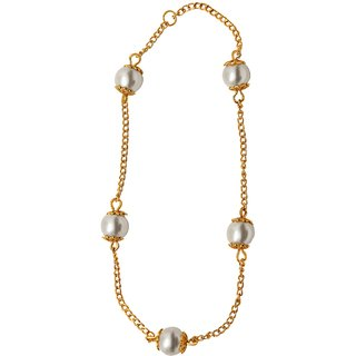 Mahi Gold Plated Fancy Bead Drop Anklet for Women PL1100116G