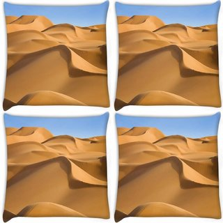 Snoogg Pack Of 4 Sunny Desert Digitally Printed Cushion Cover Pillow 10 x 10 Inch