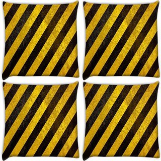 Snoogg Pack Of 4 Yellow Strips Design Digitally Printed Cushion Cover Pillow 10 x 10 Inch