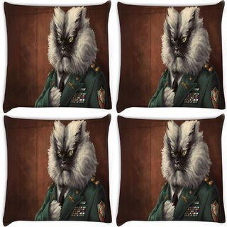 Snoogg Pack Of 4 Colonel Meow Digitally Printed Cushion Cover Pillow 10 x 10 Inch