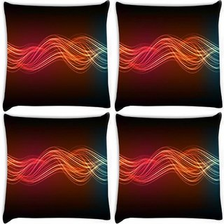 Snoogg Pack Of 4 Neon Lines Digitally Printed Cushion Cover Pillow 10 x 10 Inch