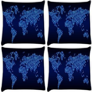 Snoogg Pack Of 4 Light Blue Map Digitally Printed Cushion Cover Pillow 10 x 10 Inch