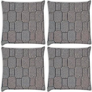 Snoogg Pack Of 4 Grey Floors Digitally Printed Cushion Cover Pillow 10 x 10 Inch