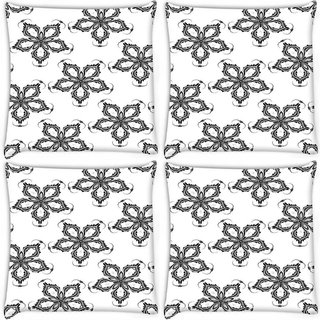 Snoogg Pack Of 4 Grey Floral Flower Digitally Printed Cushion Cover Pillow 10 x 10 Inch
