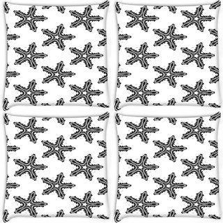 Snoogg Pack Of 4 Black Star White Digitally Printed Cushion Cover Pillow 10 x 10 Inch