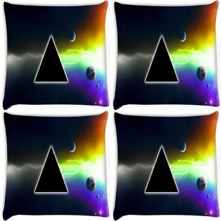 Snoogg Pack Of 4 Abstarct Black Triangle Digitally Printed Cushion Cover Pillow 10 x 10 Inch
