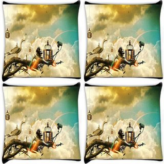 Snoogg Pack Of 4 Creative Wallpaper Ideas Digitally Printed Cushion Cover Pillow 10 x 10 Inch