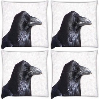 Snoogg Pack Of 4 Crow Animal Hd Digitally Printed Cushion Cover Pillow 10 x 10 Inch