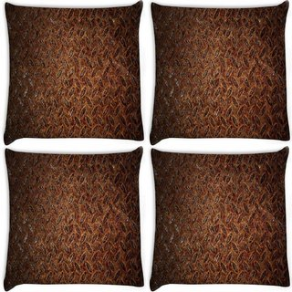 Snoogg Pack Of 4 Metal Pattern Digitally Printed Cushion Cover Pillow 10 x 10 Inch
