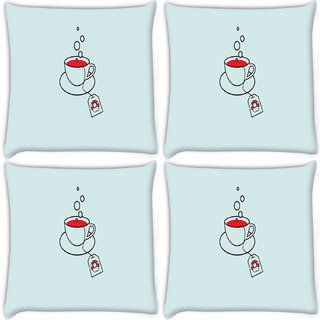Snoogg Pack Of 4 Minimalistic Mario Digitally Printed Cushion Cover Pillow 10 x 10 Inch