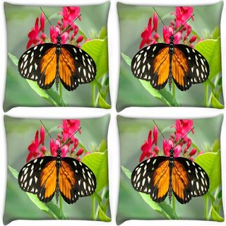 Snoogg Pack Of 4 Dragon Butterfly Digitally Printed Cushion Cover Pillow 10 x 10 Inch