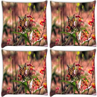 Snoogg Pack Of 4 Butterfly Sitting In Red Flower Digitally Printed Cushion Cover Pillow 10 x 10 Inch