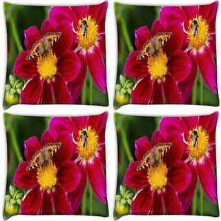 Snoogg Pack Of 4 Butterfly Seeking Honey Digitally Printed Cushion Cover Pillow 10 x 10 Inch