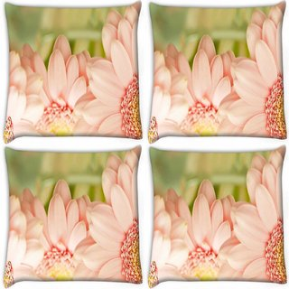 Snoogg Pack Of 4 Blue Flower Digitally Printed Cushion Cover Pillow 10 x 10 Inch