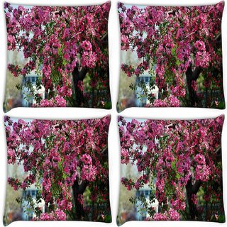 Snoogg Pack Of 4 Bunch Of Flowers Digitally Printed Cushion Cover Pillow 10 x 10 Inch