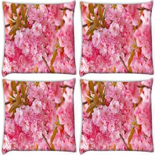 Snoogg Pack Of 4 Unique Flowers Digitally Printed Cushion Cover Pillow 10 x 10 Inch