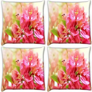 Snoogg Pack Of 4 Pink Flower Digitally Printed Cushion Cover Pillow 10 x 10 Inch