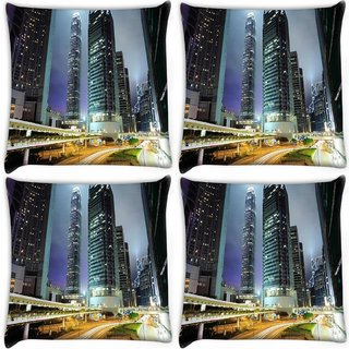Snoogg Pack Of 4 Road Trips At Night Digitally Printed Cushion Cover Pillow 10 x 10 Inch